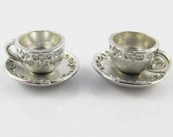 Bulk 3D Teacup & Saucer Charm Pendant Tea Party 14x8mm Select Qty