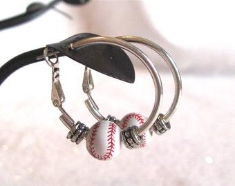 "Baseball Earrings "" Baseball Cutie # 2 round."