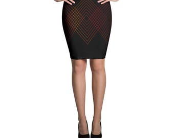 Red Lined Pencil Skirt