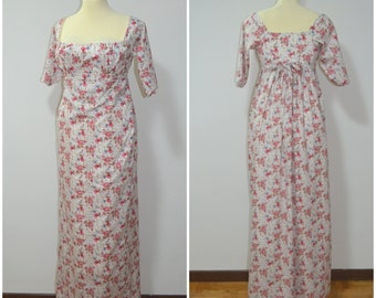 Regency floral cotton dress. Empire dress. 1800.1810. Start 800 dress. Jane Austen's Dress. Reproduction early 19th century dress
