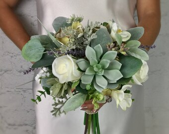 Wedding Bouquet, Bridal Bouquet, Succulent Bouquet, Artificial Bouquet, Silk Bouquet, Corsage, Boutonniere