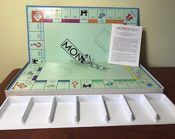 Vintage 1985 Monopoly Game Board, Money Tray and Rules