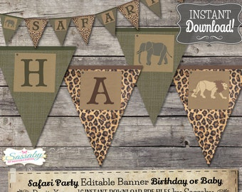 Safari Banner - INSTANT DOWNLOAD - Editable & Printable Birthday Party Decoration, Decor, Bunting by Sassaby Parties