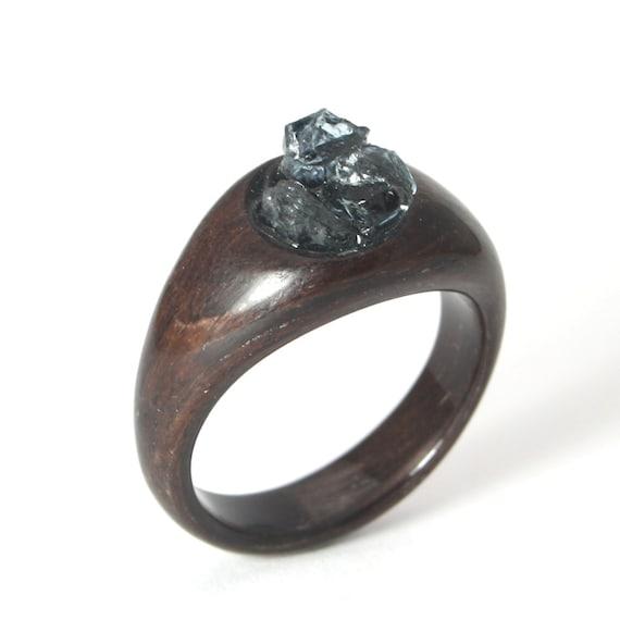 Wooden Engagement Ring Set With Aquamarine Stones