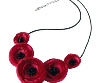 Deep Pink Fabric Flower Poppy Necklace