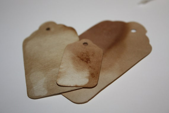 100 Tea Stained Tag LARGE 3 1/4 inch  Luggage Tag