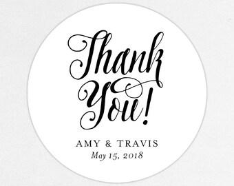 Thank You Wedding Favor Labels, Thank You Favor Tags, Thank You Favor Stickers, Wedding Labels, Printed Labels, Monogram, Script, Black