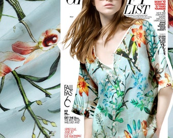 Plant print light blue silk linen thin fabric for summer casual dress shirt clothing 140cm wide