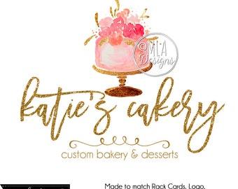 Cake Logo, Cupcake Premade Logo, Cake Logo, Watercolor Bakery Logo, PremadeCake Logo, Cupcake Logo, Watercolour Logo, Premade Custom Logo