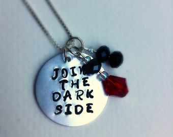 Join the Dark Side Star Wars Stamped Aluminum Charm Necklace- Silver Plated Chain with Glass Bead Charms