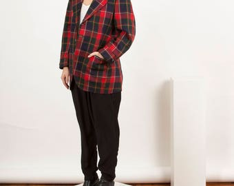 Red Plaid Blazer / Vintage Boyfriend Blazer / Fall Warm Vest