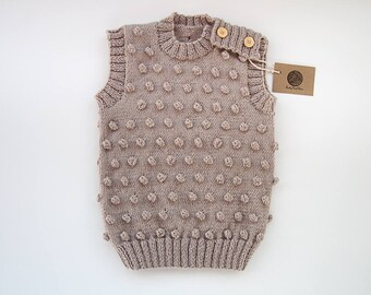 MADE TO ORDER/ Hand knitted baby, toddler vest/ popcorn vest/ merino wool