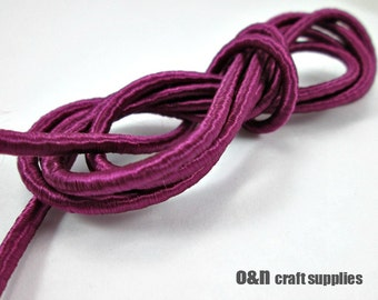Wrapped silk cord, satin cord, purple, 2 meters