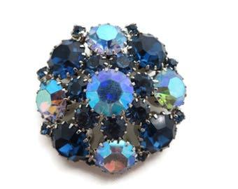 Weiss Brooch Rhinestone Blue - 1950s 1960s Costume Jewelry