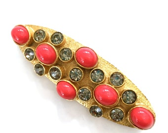 Coral and Gray Elongated Oval Brooch