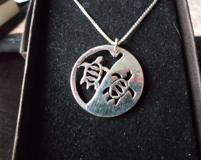Reflection necklace two sea turtles w/ sterling silver chain