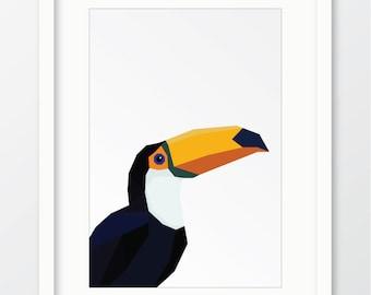 Toucan, Geometric bird, Geometric animal, Toucan print, Bird print, Bird wall art, Geometric bird print, Modern print, Digital download