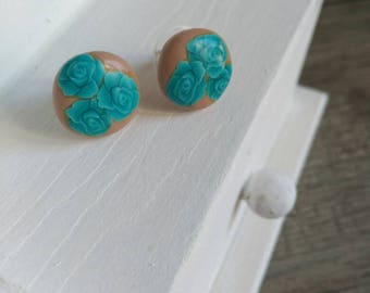 Button Earrings with turquoise roses and brown bottom-small 10 mm earrings-handmade turquoise polymer clay earrings.
