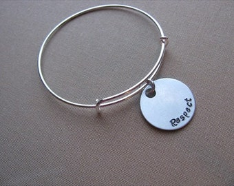 "SALE- Hand-Stamped Bangle Bracelet- ""Respect""- ONLY 1 Available"