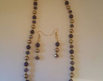 Purple and Gold Pear Necklace and Earring Set
