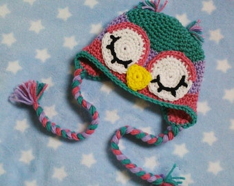Owl Baby Infant Hat PDF crochet pattern In english fits babies 0-3 months great photo prop