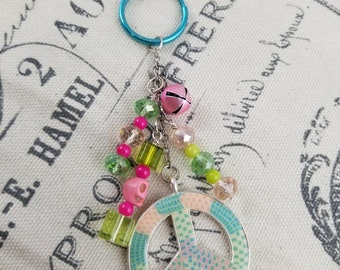 Pastel Peace Sign Keychain!