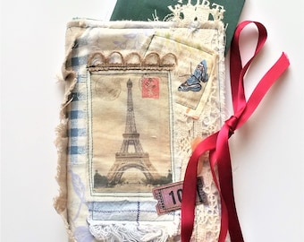 Fabric Collage Passport Wallet - French Inspired Travel Wallet - Gift For Her - Gift for Traveler - Grad Gift - Shabby Chic Accessory