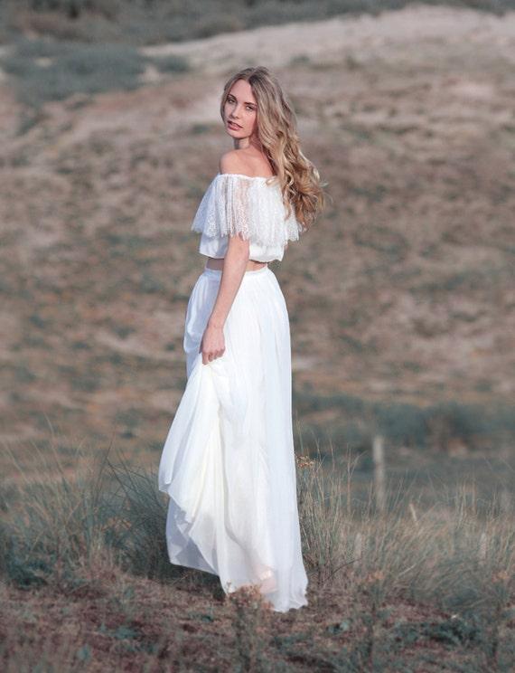 Boho wedding skirt silk chiffon skirt bridal skirt casual