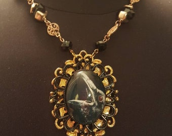 Vintage upcycled crow raven glass cameo necklace