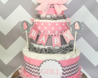 Elephant Diaper Cake in Pink and Gray, Elephant Baby Shower Centerpiece for Girls