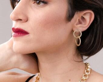 Gold circle Shape Post Hoop Earrings, Double Hoop - gold platted circles post earrings, brush earrings