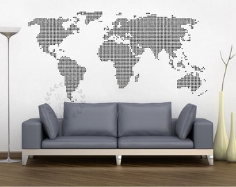 Vinyl world map wall decal white world map wall sticker large giant world map wall decal map wall stencils abstract world map mural dotted world map wall gumiabroncs Choice Image