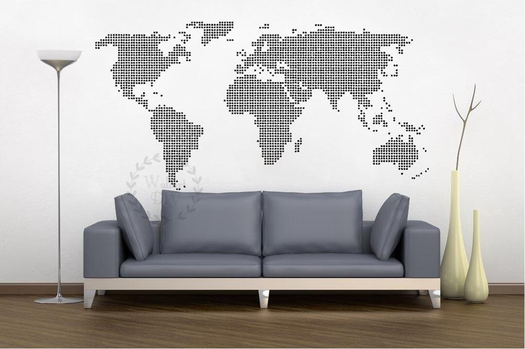 Giant world map wall decal map wall stencils abstract world giant world map wall decal map wall stencils abstract world map mural dotted world map wall stencil white map wall sticker modern wall decal gumiabroncs Image collections