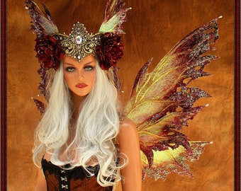 Adult Fairy Wings and Crown**Iridescent Wine/Gold **FREE SHIPPING**Costume/Masquerade/Cosplay/Bridal