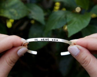 Thin Cuff Bracelet. Be here now. Yoga Jewelry. Dainty. Sterling Silver. Personalized. Initials.