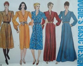 Vogue 2319  - Pattern - Shirt Dress with slim or flared skirt Size 12 Vogue's Basic Design (uncut)