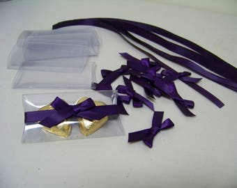 Aubergine (Dark Purple) Self Adhesive Satin Bows Pack 10