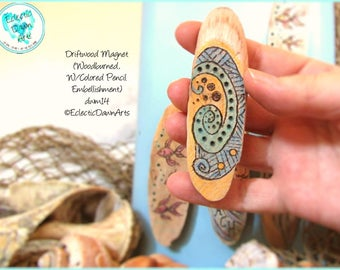Abstract Wave Curl Magnet, Driftwood Pyrography Magnet #DWM14