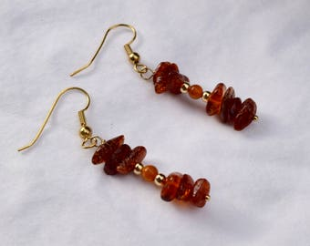 Gold All Natural Baltic Amber Earrings