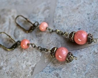 Reclaimed Vintage Earrings, Drop Earrings, Dangle Earrings, Pierced Earrings, Coral, Antique Brass, 1920s, Jennifer Jones,Boho OOAK  - Clara