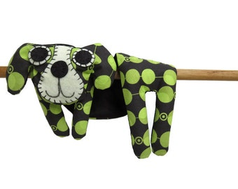 Flat Dog, Hot Cold Rice Bag, Microwave Neck Wrap, Rice Heating Pad, Hot Cold Therapy Pack, Lime Green Spots on Black