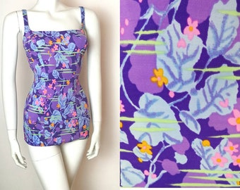 True Vintage 50s 60s Purple Pink Mustard Floral Fitted Swimsuit Pin Up 6-8