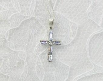 Swarovski Crystal Cross,Swarovski Cross,Child's cross,Communion Cross,Confirmation cross,Silver cross - Crystal Cross Necklace