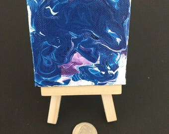 Mini Painting with Easel Desktop Art Freeform Abstract