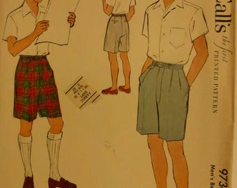 Vintage McCall's Pattern 9736  Men's Bermuda Shorts Waist Size 30 Inches