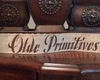 Primitive Wired Burlap Banner Olde Primitives