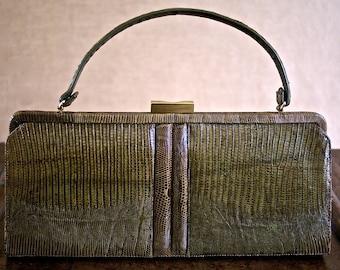 Green bronze lizard bag 50 years