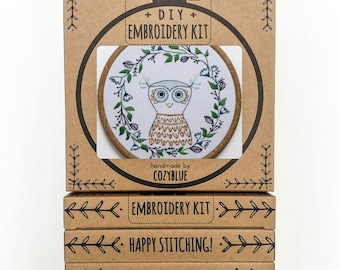 OWLETTE embroidery kit - embroidery hoop art, wise owl, owl with wreath frame, fall wreath design, stitched owl, bird embroidery, owl baby