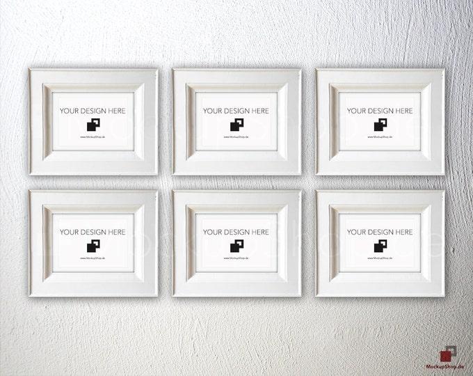 NORDIC FRAME MOCKUP, Din A6, 6 old white Frame Mockup, Empty Frame Mockup in Vintage Stil, Old Vintage Frame Mockup, Vertical Vintage