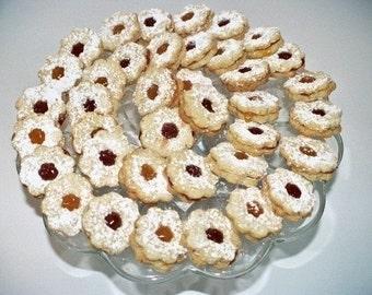 36 Linzer Tart Cookies,butter cookies,Hungarian cookies,filled cookies,Almond cookies